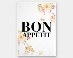 Bon Appetit Wall Art Floral Typography Modern Decor Shabby Chic Prints Kitchen