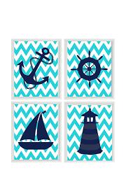 nautical nursery art print set navy blue turquoise chevron decor