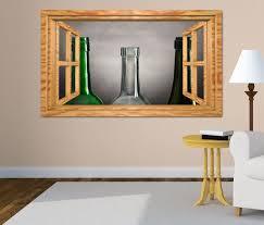 3d wandtattoo weinflaschen leer retro stillleben fenster wandbild wohnzimmer wand aufkleber 11l1925 3dwandtattoo24 de