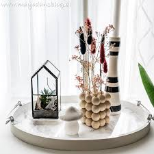 diy trockenblumenhalter aus holzperlen und herbstdekoideen