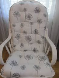 Glider Or Rocking Chair Cushions Set In Grey Dandelions Floral On White  Background, Baby Nursery Rocker, Dutailier Replace