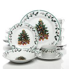 Tree Trimming 20 Piece Christmas Dinnerware Set