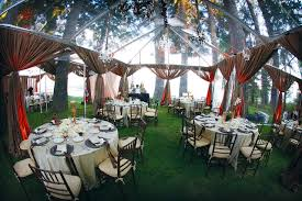 Transparent Tent And Curtains In Backyard Wedding Decorations Mixed With White Table Cloth On Round
