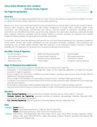 Process Safety Engineer Resume Chemical Ineer Sample Student Oil Gas Examples For