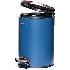 lars nysøm edelstahl kosmetikeimer 3l blau kupfer mülleimer für badezimmer küche badeimer mit tretmechanismus und absenkautomatik rutschfester