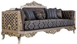 casa padrino luxus barock sofa mit dekorativen kissen blau silber gold 226 x 90 x h 110 cm barock wohnzimmer möbel