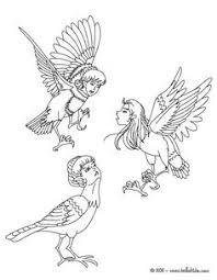 Kleurplaat HARPIES The Winged Spirits Coloring Page SheetsAdult