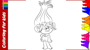 Trolls Coloring Pages Dreamworks Videos For Children Colouring Kids