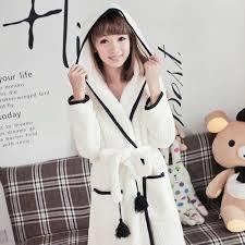 robe de chambre capuche robe de chambre femme blanche courte à capuche avec pompons achat