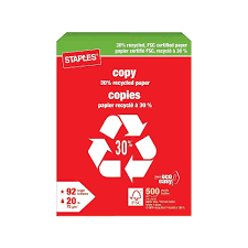 Staples 30% Recycled FSC-Certified Copy Paper, 8-1/2