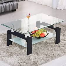 100 Living Room Table Modern Mecor Rectangle Glass Coffee Side Coffee With Lower Shelf Black Wooden LegsSuit For