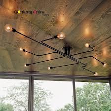 retro industriellen loft nordic rohr schmiedeeisen 4 köpfe 6 köpfe 8 köpfe deckenleuchte wohnzimmer lustre le für wohnkultur