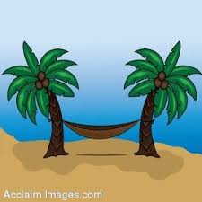 Clip Art of a Hammock Hung Between Two Palm Trees