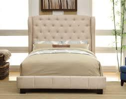 Ivory Fabric Tufted Upholstered Bed Frame Caravana Furniture