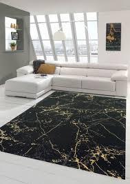 teppich wohnzimmer modern teppich marmor optik in schwarz gold