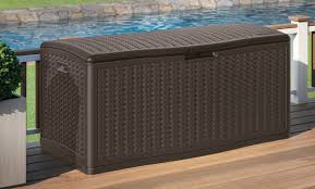 Suncast 50 Gallon Deck Boxstorage Bench by Suncast Blow Molded Herringbone 124 Gallon Resin Deck Box