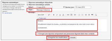 créer un message automatique en cas d absence avec gmail je me