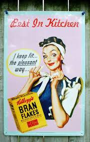 Kelloggs Ad Tin Sign Kitchen Home Decor 50s Happy Hostess Classic 14A