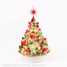 Mini Ceramic Christmas Tree In Red Green And White Peppermint Theme With Snowflake Star