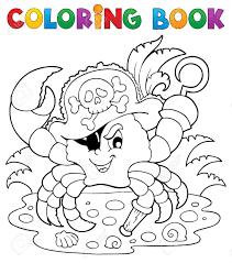 Crab Coloriages Vector Illustration Noir Isolé Sur Fond Blanc