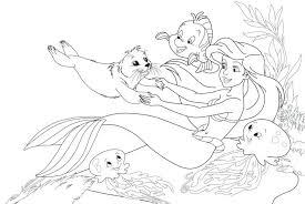Coloring Pages Disney Princess Baby Ariel Mermaid Cartoon Pictures
