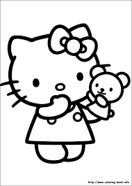Hello Kitty With A Teddy Bear Coloring Page