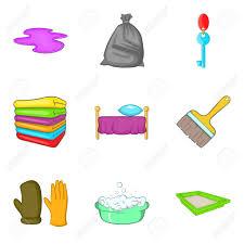 jeux de nettoyage de chambre jeu d icônes de service de nettoyage de chambre ensemble de dessin