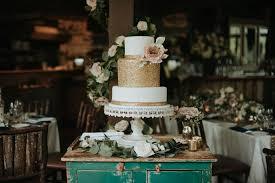 Blush Navy Gold Greenery Wedding Cake