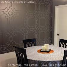 Metallic Gray Dining Room Painted Accent Wall Stenciled With Geometric Contempo Trellis Stencils