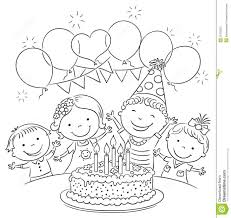 Birthday Celebration Clipart Black And White