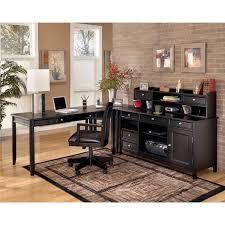 Ashley Carlyle L Desk Credenza Short Hutch Set