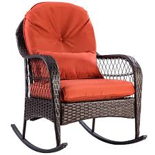 Costway Outdoor Wicker Rocking Chair Porch Deck Rocker Patio Furniture W/  Cushion - Walmart.com