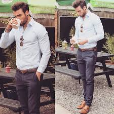 Easy Gentleman Style Light Blue Shirt Gray Chinos Brown Shoes Belt