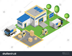 Warehouse Building Icon Trucks Goods Logistic Stock Vector (Royalty ...