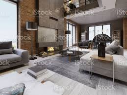 moderne loft wohnzimmer mit hoher decke sofa roten backsteinmauer weißen parkett polster sofa und möbel wohnaccessoires stühle esstisch mit stockfoto