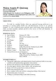 Fabulous Sample Resume Newly Graduated Nurse Philippines About