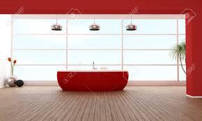minimalist badezimmer mit roten badewanne gegen große fenster rendering