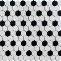 lyric unglazed porcelain hexagons in polka dot chalk