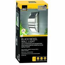 cole bright motion sensor solar wall light black nickel