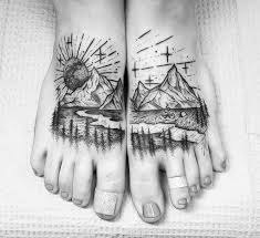 Nature Camping Scene Double Foot Tattoo