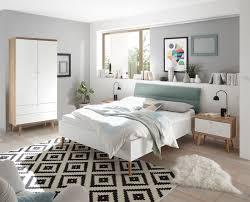 schlafzimmer set komplett 3 teilig merle 140x200cm eiche riviera weiß mint