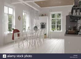 offene geräumige weiße küche und esszimmer interieur in