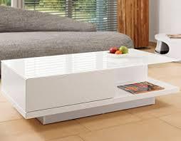 salesfever tisch weiß hochglanz mit schublade 120x60cm recht eckig carla moderner wohnzimmer tisch mit tischplatte aus kristallglas weiss