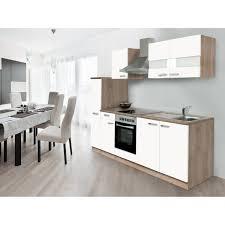 respekta küchenzeile kb240eswc 240 cm weiß eiche glänzend