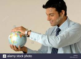 bureau vall guing office going holding earth in both mr 748l stock photo