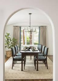 Cream And Blue Mediterranean Dining Room