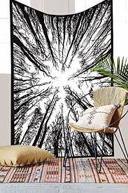 Bohemian Forest Tree Tapestry Wall Decor Art Indian 3D Hanging Black White