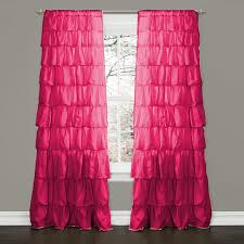 Pink Ruffled Window Curtains by Fuchsia Blackout Leaf Printed Bedroom Curtains Fuschia Home