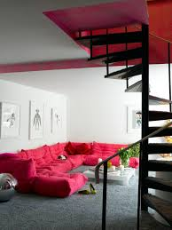 Sofa Pink by Pink Sofa In The Living Room With Spiral Staircase Interior