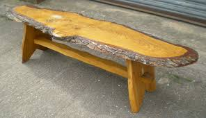 Rustic Look Long Log Style Coffee Table